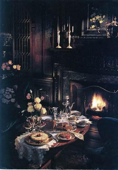 Dark Gothic Romantic Fireplace Interior Night Victorian