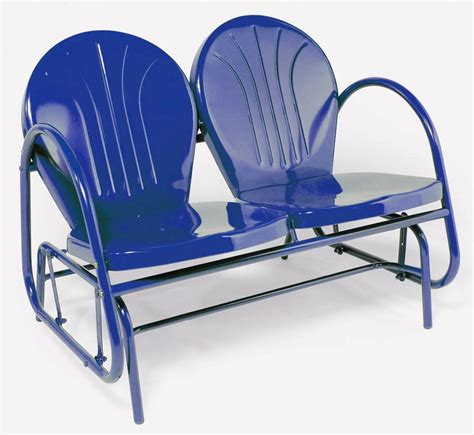 retro metal glider outdoor lawn patio chair blue