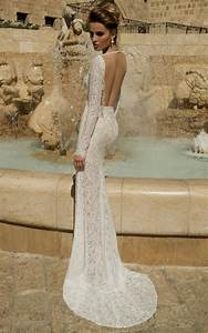 Lace mermaid wedding dress open back with sleeves naf dresses for Plunging back wedding dress