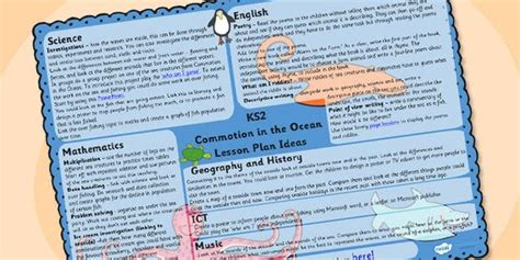 Commotion In The Ocean Lesson Plan Ideas Ks2