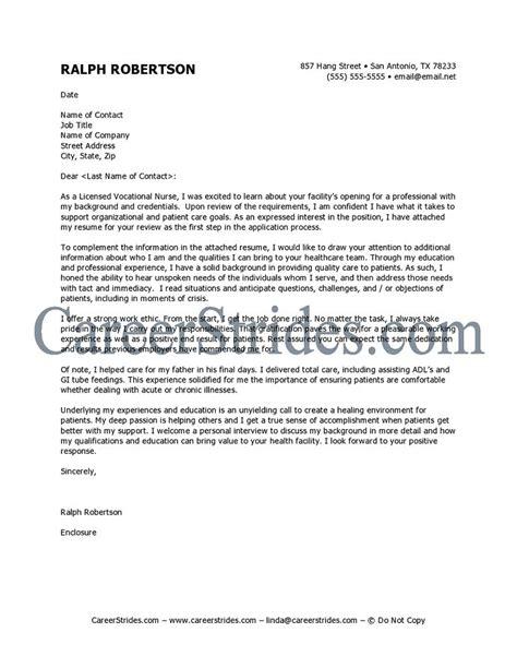 Nursing Resume Cover Letter Exles by Cover Letter Sle Exle