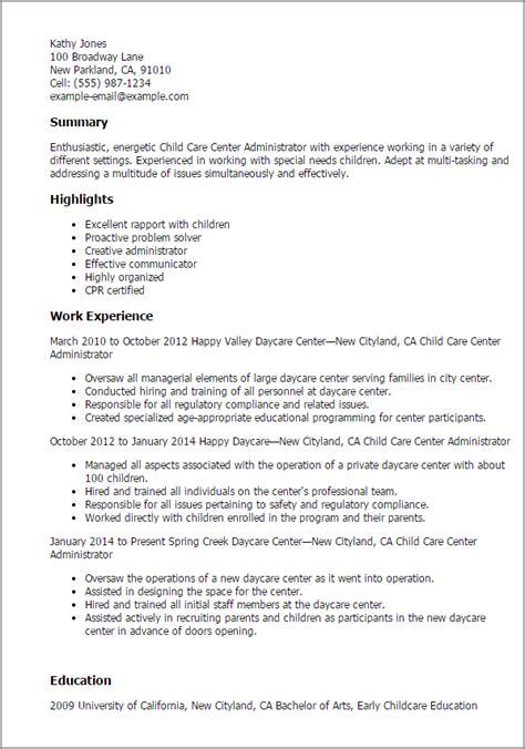 child care center administrator resume templates