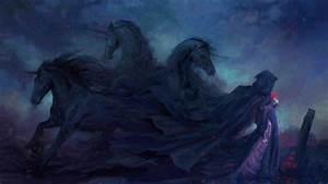 Dark, Gothic, Animals, Horses, Stallion, Mood, Emotion, Sad, Sorrow, Fantasy, Paintings, Flowers