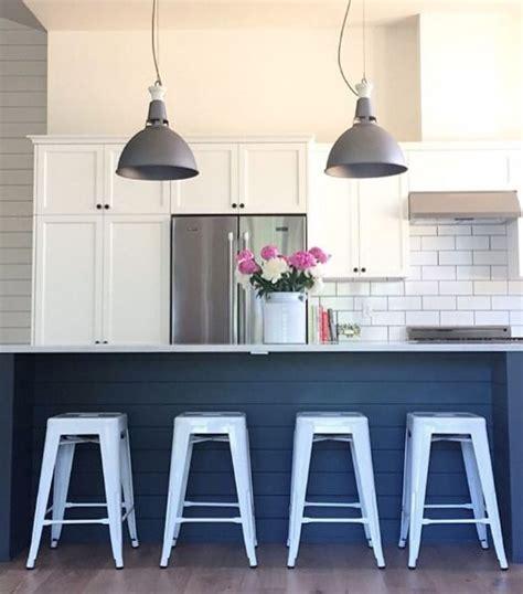 shiplap island bright white stools kitchen pinterest