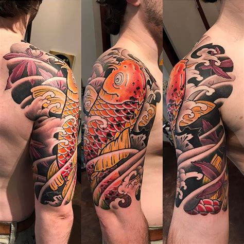 japanese koi  sleeve tattoo bardadim tattoo brooklyn nyc