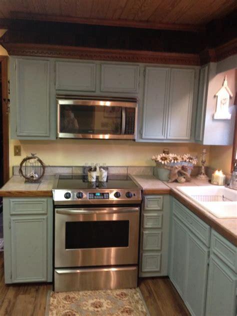 updating   oak cabinets  anne sloan chalk paint duck egg bluenext step add beaded