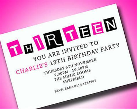 birthday invitation  teenagers