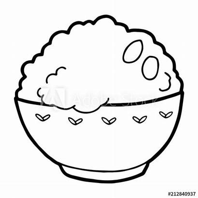 Rice Coloring Cartoon Bowl Isolated Colouring Rijst