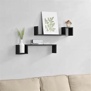 étagères Murales Design : tag re murale en 2 pi ces noir mat design r tro achat vente etag re murale ~ Teatrodelosmanantiales.com Idées de Décoration