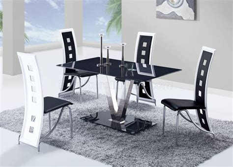 black and white dinette d551dt dining set 5pc w 803dc black white chairs by global