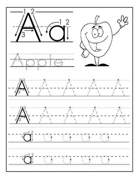 trace letter a sheets to print printable preschool