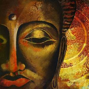 Face Of Buddha Painting by Corporate Art Task Force