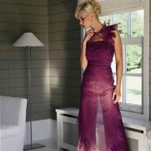 enge brautkleider broekpak in prachtig paars