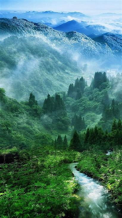 Iphone Forest River Nature Landscape Mountain Mist