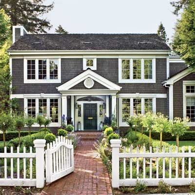 colonial exterior paint is slate blue grey white trim and black accents paint