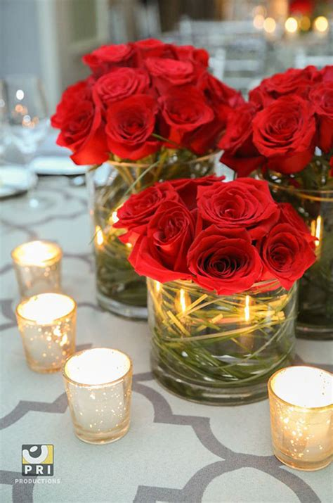 roses centerpieces ideas modern arrangements of red roses add a burst of color to this chic table setting wedding