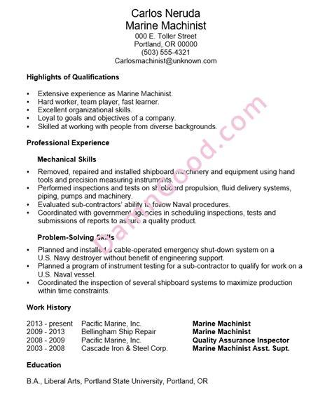 Marine Resume Objective by Functional Resume Sle Marine Machinist