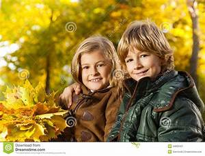 Boy And Girl Autumn Portrait Stock Image - Image: 34835431