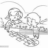 Hopscotch Coloring Playing sketch template