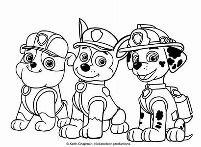 Coloring Marshall Chase Rubble Paw Patrol Printable