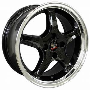 """17"""" Fits Ford® Mustang® Cobra R 4 Lug Wheels Black with a Fine Machined Lip Set of 4 17x8"""" Rims ..."""