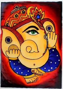 Ganesha, Glass, Painting, U2013, Creative, Art