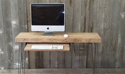 bureau imac small wood desk with mid century hairpin legs 36 by