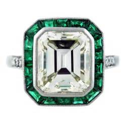 emerald wedding ring halo ring vintage emerald cut halo rings