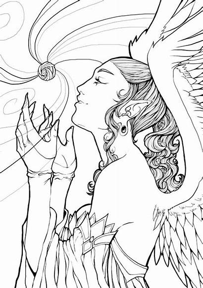 Coloring Angel Pages Adult Lineart Deviantart Books