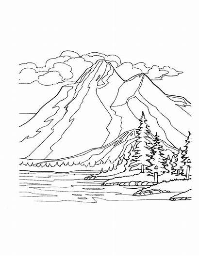Coloring Mountains Pages Nature Colouring Printable Sheets
