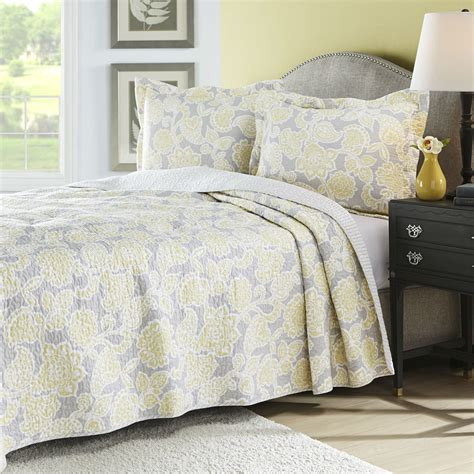 Coverlet Quilts by King Yellow Gray Floral 100 Cotton Reversible Quilt