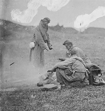 Civil War Soldiers Union Around Campfire American