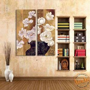best white flower canvas paintings products on wanelo With what kind of paint to use on kitchen cabinets for 2 panel canvas wall art