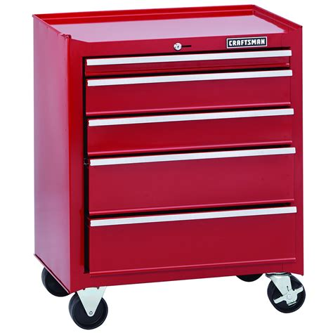 craftsman 5 drawer rolling tool box craftsman home series 26 quot wide 5 drawer rolling cabinet