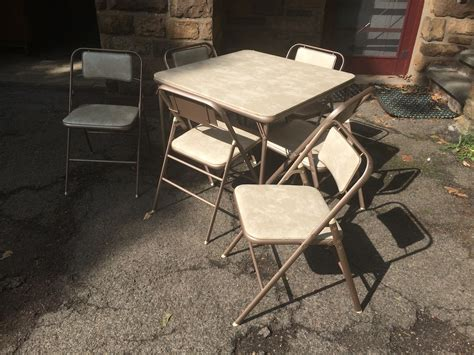 samsonite folding table and 6 chairs attainable vintage