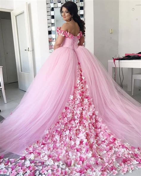 pink tulle floral flower ball gowns quinceanera dresses