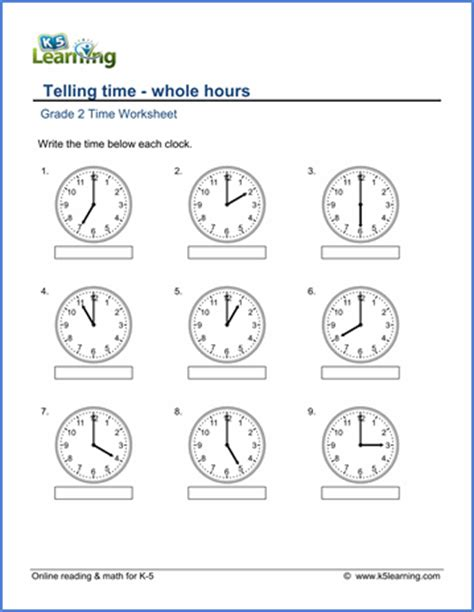 grade 2 telling time worksheets reading a clock whole