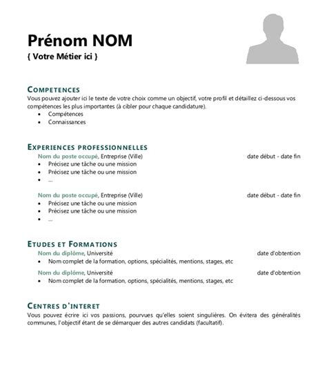 Modele Pour Faire Un Cv by Model De Cv Simple Word Modele De Cv Format Word Gratuit
