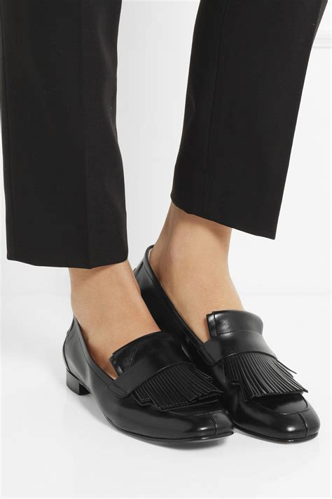 lyst tods fringed leather loafers  black