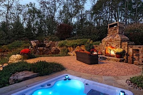 outdoor pool landscaping custom work built in spa fireplace surrounds