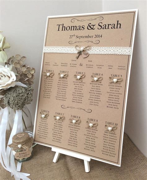 Rusticshabby Chic A3 Wedding Table Seating Plan Country