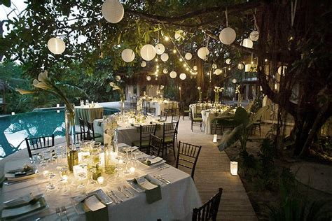 Poolside Dinner by Dreamy Poolside Dinner Wedding Reception Lit By Hanging