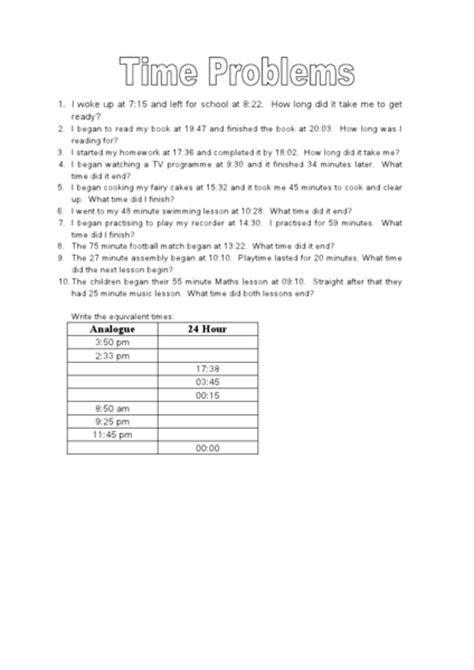 elapsed time word problems 24 hour clock worksheet for