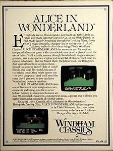 Alice In Wonderland  1985  Apple Ii Box Cover Art