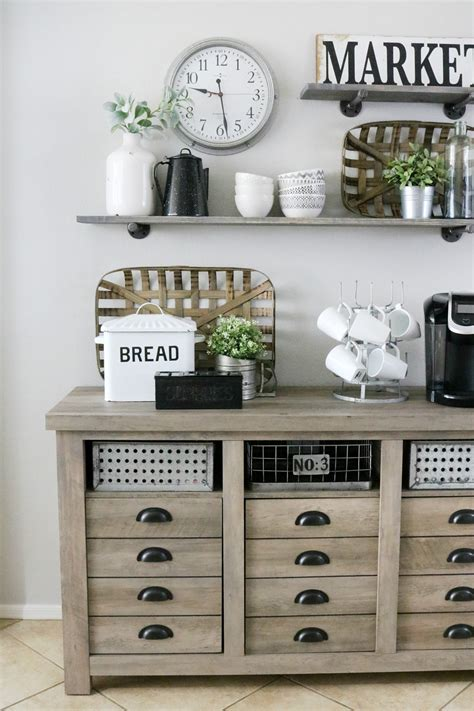 modern farmhouse inspired coffee bar station  crafted