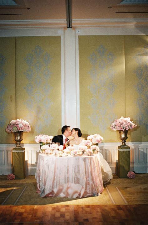 pink and white bride and groom table romantic bride