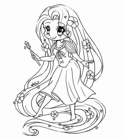 Coloring Rapunzel Pretty Princess Fabulous Tangled Chibi