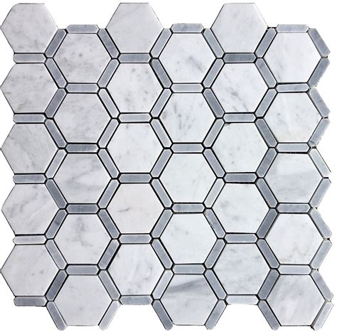 marble mosaic carrara carrera bianco honeycomb hexagon honed marble mosaic