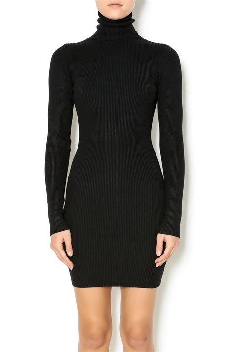 black hera dress hera collection black turtleneck sweater dress from
