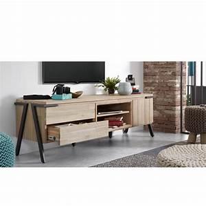 Meuble Tv Bois Massif Moderne : meuble tv bois massif et m tal 2 tiroir 1 porte spike by drawer ~ Teatrodelosmanantiales.com Idées de Décoration